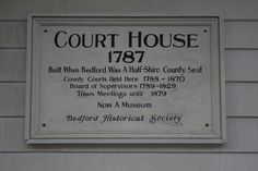 Bedford, NY. Bedford Court House. 1787