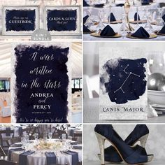 Starry Night Wedding Decor, Navy Silver Wedding Moodboard Theme #wedding #weddinginspiration #weddingdecor