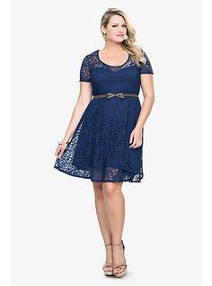 Navy Lace Belted Dress | Torrid