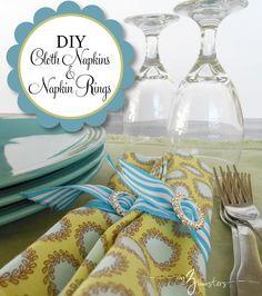 DIY Cloth Napkins and Napkin Rings Servietten nähen Ecken