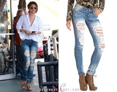 It looks like Selena Gomez has been rediscovering some old faves in her closet! She went out for lunch yesterday wearing a pair of Machine Jeans Destroyed Skinny Jeans, which we last saw her wearing in August 2012. And girls, you're in luck! These style Machine Jeans are still being sold at Charlotte Russe for $34.99. Buy them HERE She wore these jeans with Carrera by Jimmy Choo sunglasses, Melinda Maria earrings and a Kendra Scott cuff. Channel Selena's laidback look with one of ...