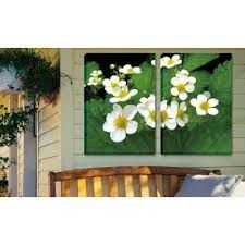 A pretty canvas print of flowers for the outdoors.