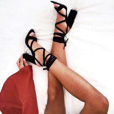 black strappy tie up heels.