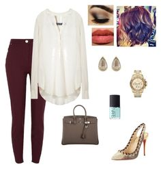 Untitled #1199 by lilliepad on Polyvore featuring polyvore fashion style Raquel Allegra River Island Christian Louboutin Hermès Michael Kors Anaconda NARS Cosmetics clothing