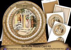 Christmas Door HappyChristmas 8in Round Ruffle Mini Card Kit on Craftsuprint - Add To Basket!
