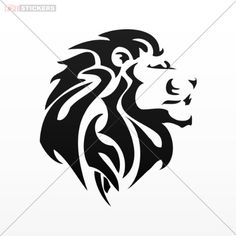 Sticker Vinyl Decals Lion Tribal Tattoo Design Wall Art Decor Doors Size: 4 X 3.5 Inches Black