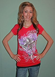 Hot Pink w/ Purple & Black Fluer De Lis Top! $25.00 #countryflare  http://countryflaredesigns.mybigcommerce.com/hot-pink-w-purple-black-fluer-de-lis/