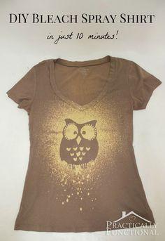 A Glimpse Inside: 30 Owl Project Ideas - DIY Bleach Spray Shirt by: Practically…