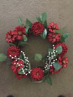 Make a faux succulent wreath from pine cones! Paint pine cones to look like succulents then arrange on a grapevine wreath! Fall Pine Cone Wreath Fall Wreath Pine Cone by CraftElegance - Salvabrani This Pin was discovered by Nar Christmas Pine Cones, Christmas Wreaths, Christmas Crafts, Christmas Decorations, Christmas Ornaments, Pine Cone Art, Pine Cone Crafts, Hobbies And Crafts, Crafts To Make