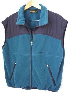 Timberland Vest XL Weathergear Men Teal & Navy Blue Fleece Zipper Front Pockets #Timberland #$19.99 #Vest