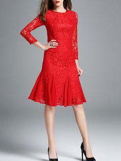 #AdoreWe Auchan-Ai Red Casual Cotton-blend Midi Dress - AdoreWe.com