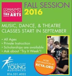 Sign-up for Community School of the Arts Kansas City Young Audiences Fall Session at kcya.org to lean dance, music, and theatre!  // For more family resources visit www.ifamilykc.com #ClippedOnIssuu from iFamily KC September 2016