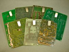 These recycled circuit boards serve as great magnetic clipboards for technology fans. Made by Debby Arem