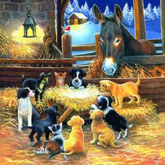 Diamond Painting Cat and Dog Horse Cross Stitch Full Square Drill Rhinestone Diamond Mosaic Farm Animals House Decoration Christmas Puzzle, Christmas Nativity, Christmas Art, Vintage Christmas, Xmas, Christmas Scenes, Christmas Animals, Christmas Wishes, Christmas Pictures