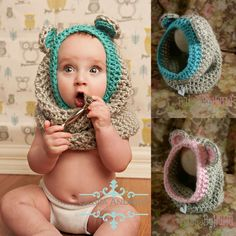 Just a picture of a crochet baby hood but I'm sure it wouldn't be too hard