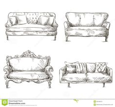 Set Of Sofas Drawings Sketch Style, Vector Illustration Stock Vector - Image: 42246572