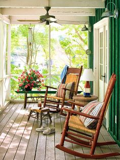 decorating front porches with rocking chairs | Two rocking chairs make this screened porch a lovely place to sip ice ...