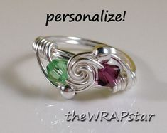 Personalized Birthstone Ring Wire Wrapped Jewelry ♥ by theWRAPstar, $14.95