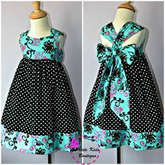 Ella Dress For Girls 12M-8Y PDF Pattern & Instructions - full skirt, elastic back, easy sew, contrasting hem, big bow, sweetheart bodice. $6.90, via Etsy.