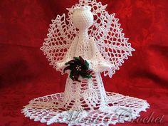 Hand Crocheted Heavenly Pineapple Angel With Crocheted Beaded Burgundy