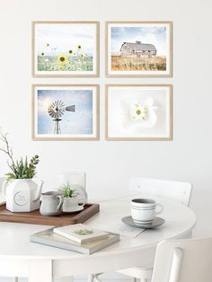 Add a fresh breeze of country air to any wall in your home! This set of four soft and neutral farmhouse prints will add the perfect homespun touch of farmhouse charm to your living room, kitchen or bedroom walls.  #countrydecor #farmhousedecor #gallerywall #kitchenwalldecor Farmhouse Wall Art, Farmhouse Kitchen Decor, Country Farmhouse, Coastal Farmhouse, Country Living, Country Wall Decor, Bedroom Wall, Framed Wall Art, Gallery Wall