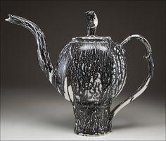 Handgemachte Keramik Teekanne Groß Schwarz und weiß. von OhBear