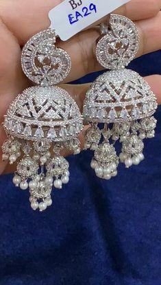 Real Diamond Earrings, Gold Jhumka Earrings, Fancy Earrings, Jewelry Design Earrings, Women's Jewelry, Unique Earrings, Cute Jewelry, Fashion Jewelry, Fancy Jewellery
