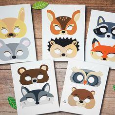 10 woodland masks for kids. Kids Birthday Crafts, Colorful Birthday Party, Owl Mask, Bear Mask, Animal Masks For Kids, Mask For Kids, Craft Activities For Kids, Crafts For Kids, Animal Mask Templates