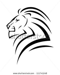 stock vector : Lion tattoo - vector illustration