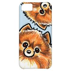 #Animals                                        Red Pomeranian Paws Up Cover For iPhone 5C                   Cute design featuring hand drawn art of a red/orange Pomeranian. Makes a unique gift for moms, dads and kids.