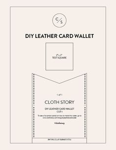 DIY leather card wallet with free printable pattern. - clothstory.com  Classic + minimalist