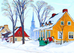 EuroGraphics Winter Morning in Baie-Saint-Paul by Clarence Gagnon 1000-Piece Puzzle. This beautiful winter scene provides a fun way to celebrate the holidays! Canadian artist Clarence Gagnon shows a traditional Canadian Christmas in this beautiful painting.