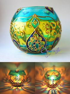 The candle holder emerald Oriental tales. by RomanticArtGlass | Hand painted stained glass.