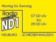 (17) Radio ND1 * Sendegebiet: Ingolstadt (Kanal 11C) * Format: AC * Sendezeiten: Montag bis Samstag von 7 - 9 Uhr * Motto: Radio ND1 sendet aus dem Herzen Bayerns für den schönsten bayerischen Landkreis. Dazu gibt es rund um die Uhr die wichtigsten Nachrichten aus der Region, Bayern und der Welt.