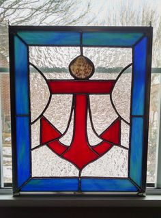 Anchor Stained Glass Panel Nautical Decor by StainedGlassYourWay