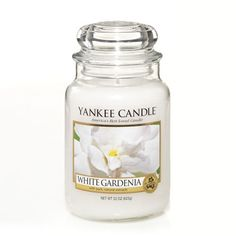 White Gardenia: Yankee Candle: So captivating! The stunning royal beauty of lush white gardenias in full bloom.