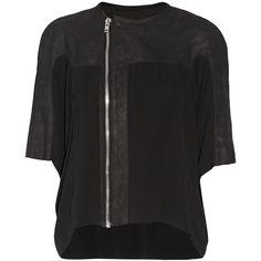 Rick Owens Pillbug brushed suede and silk chiffon jacket ($1,770) ❤ liked on Polyvore featuring outerwear, jackets, asymmetrical zipper jacket, rick owens, asymmetrical zip jacket, suede jacket and rick owens jacket