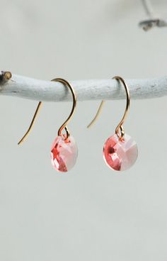 Peach  Swarovski  RHINESTONE Earrings Petite