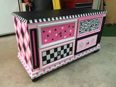 Painted wood dresser. Girl's princess theme.