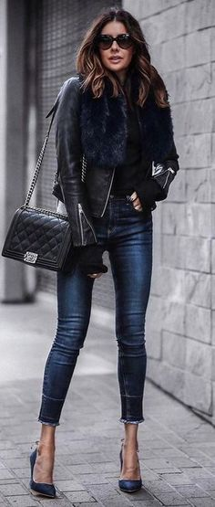beautiful fall outfit : leather jacket + bag + skinny jeans + heels