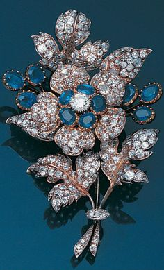 b67c1cdf584 A late 19th century sapphire and diamond floral spray brooch Antique  Jewelry, Antique Brooches,