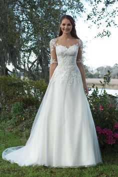 Organza and Satin A-Line Gown with Illusion Sleeves and Lace Appliques Style 6191