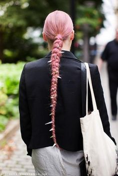 101 Braid Hairstyles You Need to Know - long, pink braided ponytail with spikes