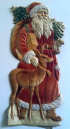 Victorian Antique Santa Claus Father Christmas Die Cut.