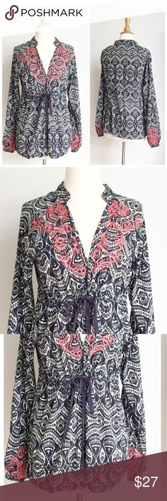 ⭐️Athleta ⭐️ Embroidered Drawstring Boho Top Blouse has been gently worn but in great condition. The fabric content is 81% cotton 14% nylon and 5% spandex. The length from shoulder to hem is approximately 26 inches. The bust is approximately 18.5 inches across from armpit to armpit. Athleta Tops