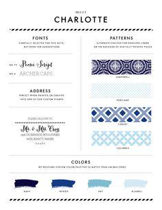 Charlotte Style Sheet | Chelsey Emery | www.chelseyemery.com | #blue #wedding #calligraphy