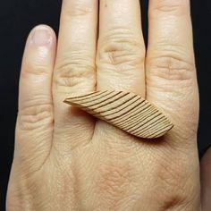 Wave shape elegant wooden ring Simple minimalistic pine wood