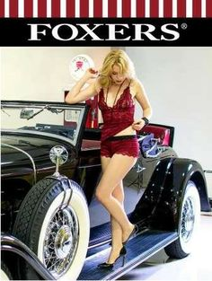 Classic Beauty Rebecca Bujko FOXERS Cranberry 18x24 glossy poster  - FOXERS Classic Beauty campaign features a unique automobile; a stunning model;and FOXERS great styles.   The great news is the Classic Beauty FOXERS poster campaign also has a purpose the poster proceeds benefit the artists involved each model, photographer, and a charity receives a portion of the proceeds! These posters give back! The current charitable cause is the Lung Foundation for a lung transplant.   Featured in ...