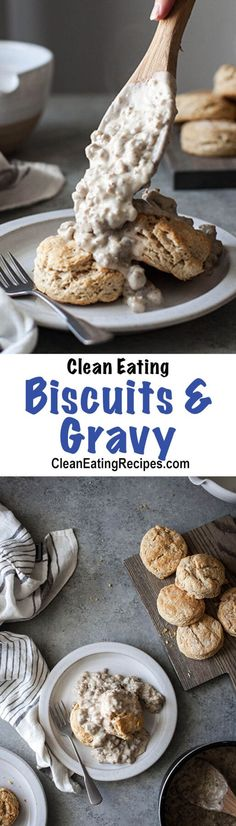 This healthy biscuits and gravy recipe is easy to make and totally comforting. I make it for breakfast and dinner a lot!