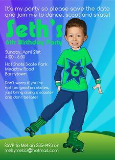 Boy's Roller Skating Birthday Invitation by SandyFordDesign, $15.00